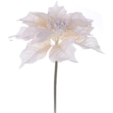 Umělá květina poinsettia bílá 3 ks