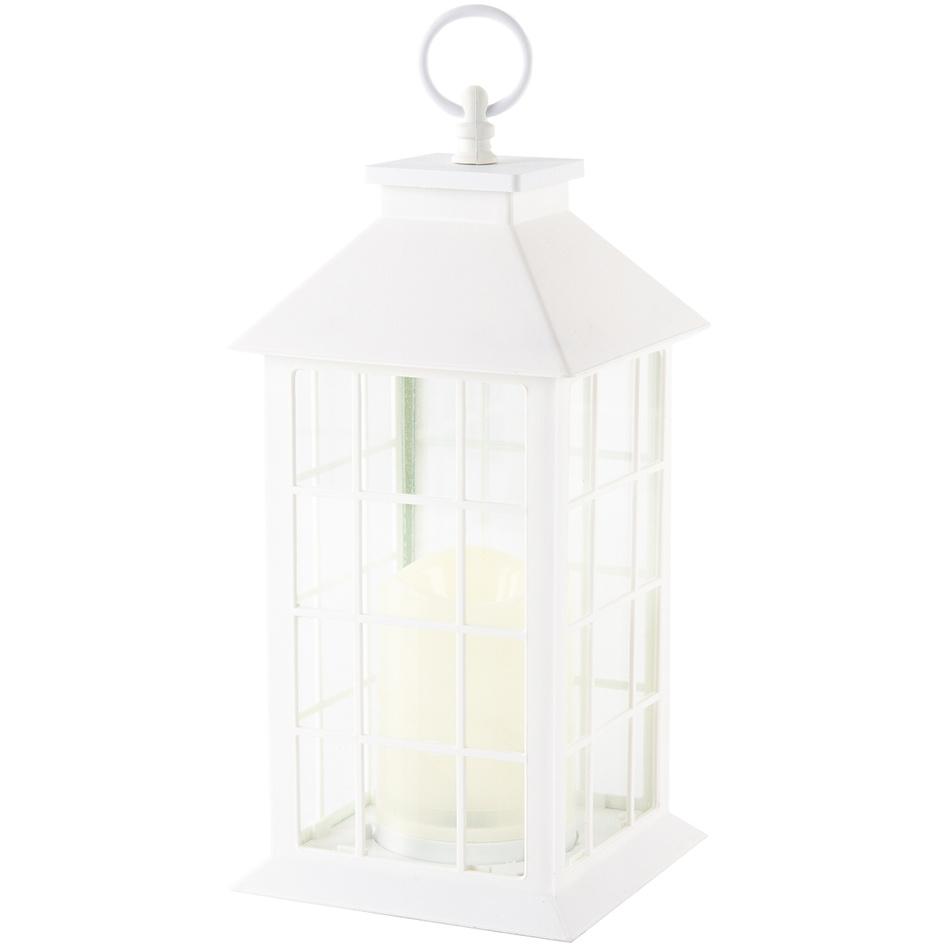 Lucerna s LED svíčkou Carré, bílá