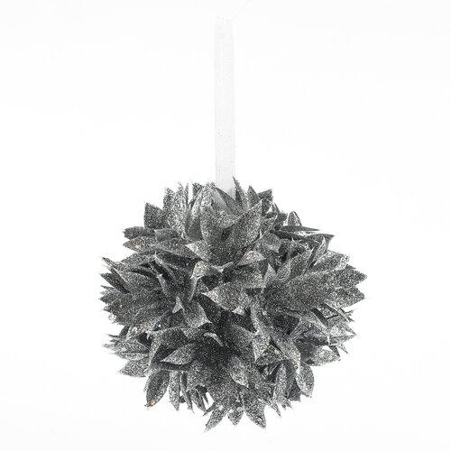 Poinsettia guľa strieborná 10 cm