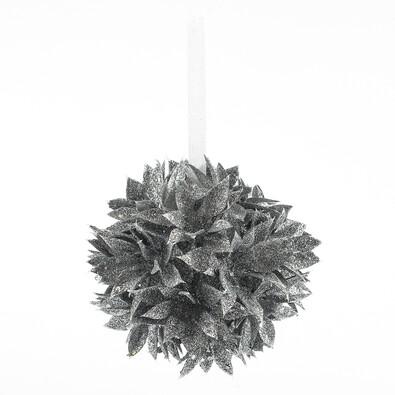 Poinsettia koule stříbrná 10 cm