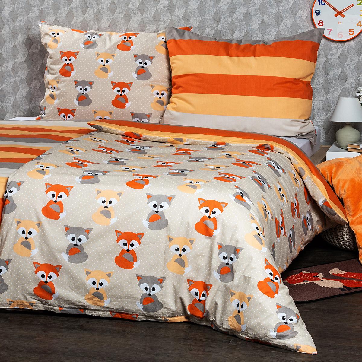 4Home Bavlněné povlečení Little Fox, 140 x 200 cm, 70 x 90 cm