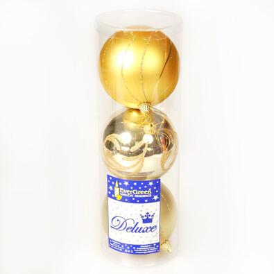 Koule zdobená, zlatá, pr. 10 cm, 3 ks, zlatá