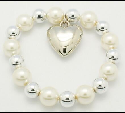 Elastický dámský náramek s perleťovými korálky