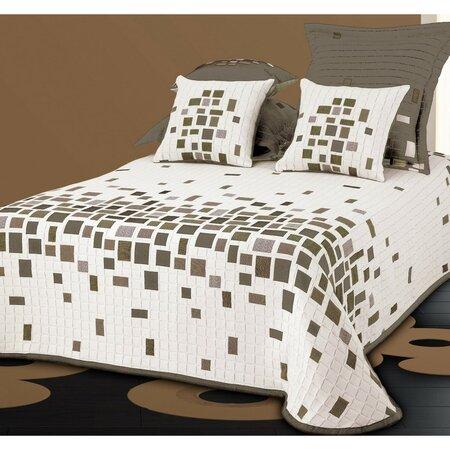 Narzuta na łóżko Derby beżowy, 140 x 220 cm + 1 szt. 40 x 40 cm