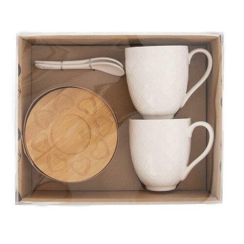 Set căni porțelan Orion Bambu, cu farfurioară și linguriță, 2 buc.