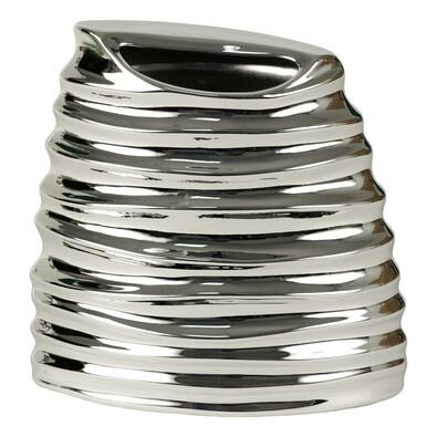 Váza keramická metalická stříbrná