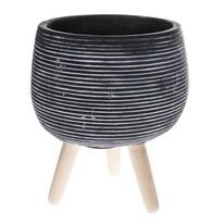 Recipient din beton pentru ghiveci Torino, picioare lemn, 15,5 x 18,5 cm