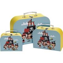 Gyerek bőrönd készlet Pirate, 3 db