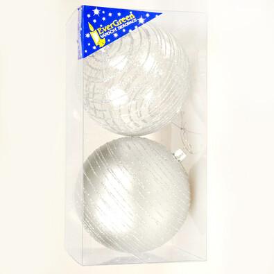 Koule se třpytkami 2 ks, stříbrná, pr. 10 cm, stříbrná
