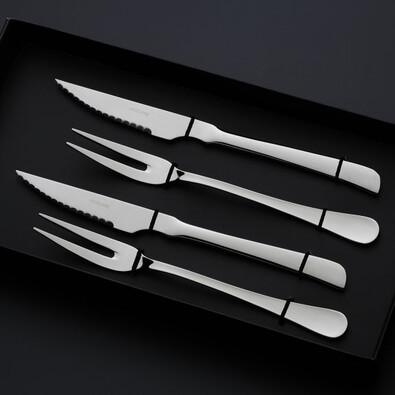 Steaková sada Portofino Black box stříbrný kov