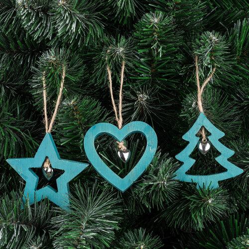 Trio, 3 db-os fából készült karácsonyfadísz szett,kék,