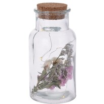 Szklana butelka dekoracyjna Cork różowy, 7 x 14 cm