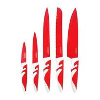 Komplet 5 noży z nieprzywierającą powłoką SYMBIO ROSSO 5 szt., czerwony,
