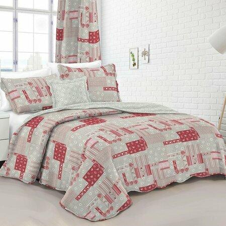 Přehoz na postel Country stil růžová, 140 x 200 cm, 50 x70 cm