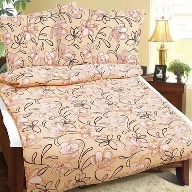 Krepové obliečky Kvety lososová, 140 x 200 cm, 70 x 90 cm