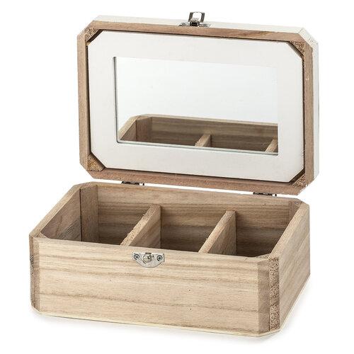 Dřevěný box na šperky se zrcadlem Santini