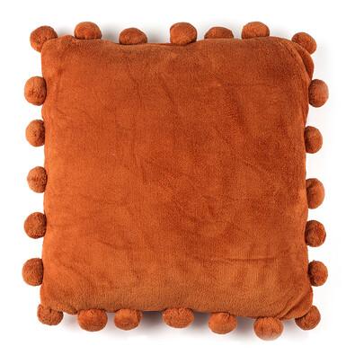 Polštářek Pompon oranžová, 45 x 45 cm