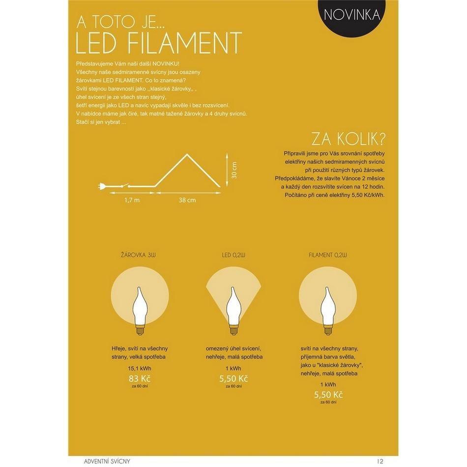 Produktové foto Adventní svícen LED Filament, červená