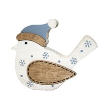 Drevená dekorácia Zimný vtáčik, 11,5 x 9 cm