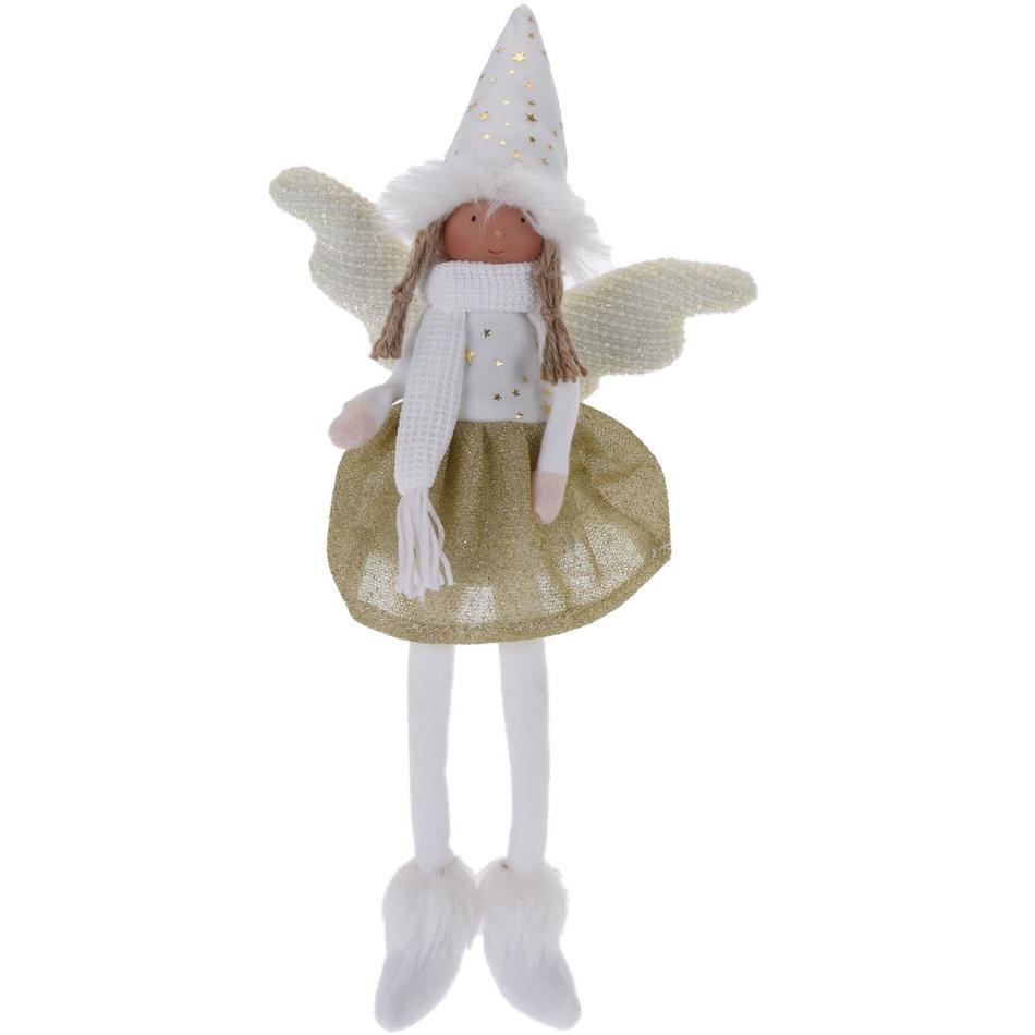 Vánoční anděl Bertina zlatá, 46 cm