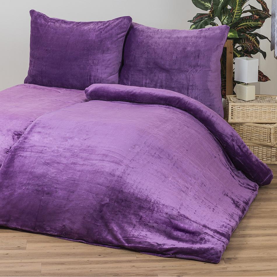 Povlečení Mikroplyš fialová, 140 x 200 cm, 70 x 90 cm