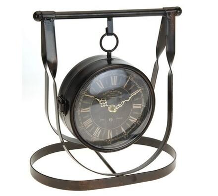 Stolní hodiny kovové, hnědá