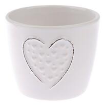 Keramický obal na květináč Little hearts bílá