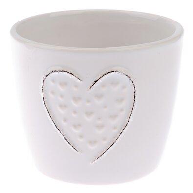 Keramický obal na květináč Little hearts bílá, pr. 10,5 cm