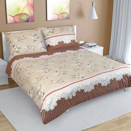 Bavlnené obliečky Kvetina kávová, 200 x 200 cm, 2 ks 70 x 90 cm