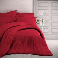 Kvalitex Stripe szatén ágynemű, piros, 220 x 200 cm, 2 db 70 x 90 cm