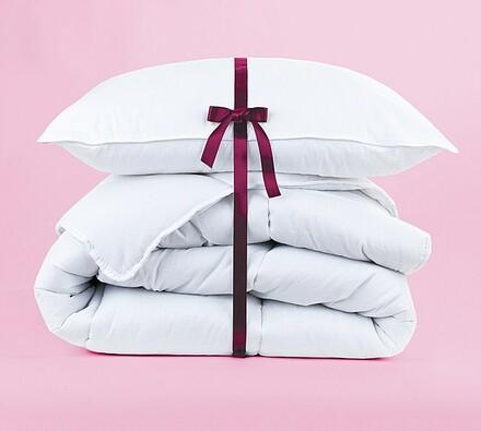 Set přikrývky a polštáře z netkané textílie, bílá