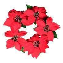 Koszorú karácsonyi rózsákból, piros, átmérője 30 cm