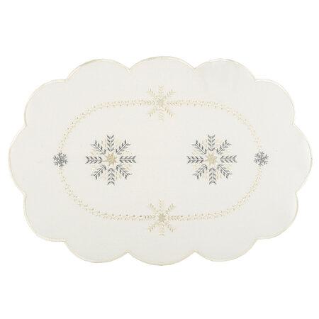 Vianočný obrus Vločky biela, 30 x 45 cm