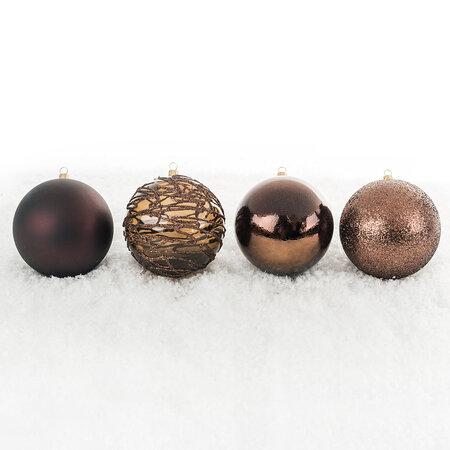 Vánoční koule mix pr. 10 cm, hnědá