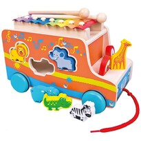 Bino Vkládačka s xylofonem Auto, oranžová
