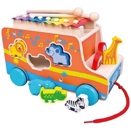 Bino Formaevő doboz xilofonnal Autó, narancssárga