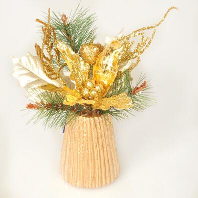 Vánoční aranžmá Poinsettia, zlaté