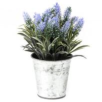 Mű levendula fém virágtartóban, kékes-lila, 24 cm