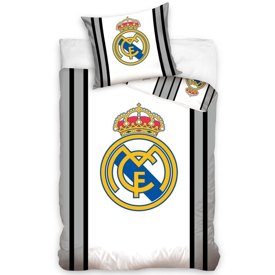 Bavlnené obliečky Real Madrid sivá Stripes, 140 x 200 cm, 70 x 80 cm