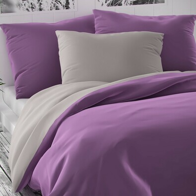 Lenjerie de pat din satin Luxury Collection, violet/gri deschis, 140 x 200 cm, 70 x 90 cm