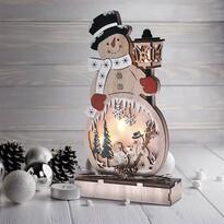 Solight Drevený snehuliak s 4x LED, 29 cm