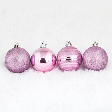 Vánoční koule 7 ks růžová