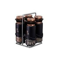 Berlinger Haus 5-częściowy zestaw pojemników na przyprawy w stojaku Black Rose Collection