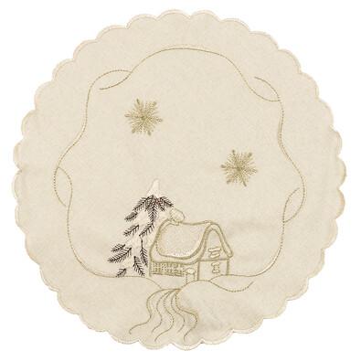 Vianočný obrus chalúpky béžová, pr. 35 cm