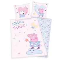 Lenjerie de pat copii, din bumbac, Peppa Pig Shinelike the stars, 140 x 200 cm, 70 x 90 cm