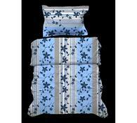 Krepové obliečky Kvetiny, modrá, 140x220, 70x90 cm, modrá + šedá, 140 x 220 cm, 70 x 90 cm