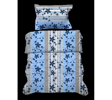 Krepové povlečení Květiny, modrá, 140x220, 70x90 c, modrá + šedá, 140 x 220 cm, 70 x 90 cm