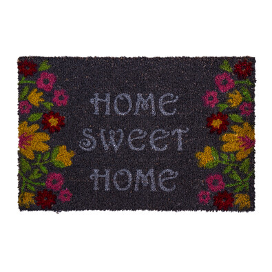 Rohožka Sweet Home flowers šedá, 40 x 60 cm