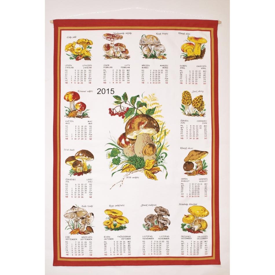 Forbyt Textilný kalendár 2015 Huby, 45 x 65 cm