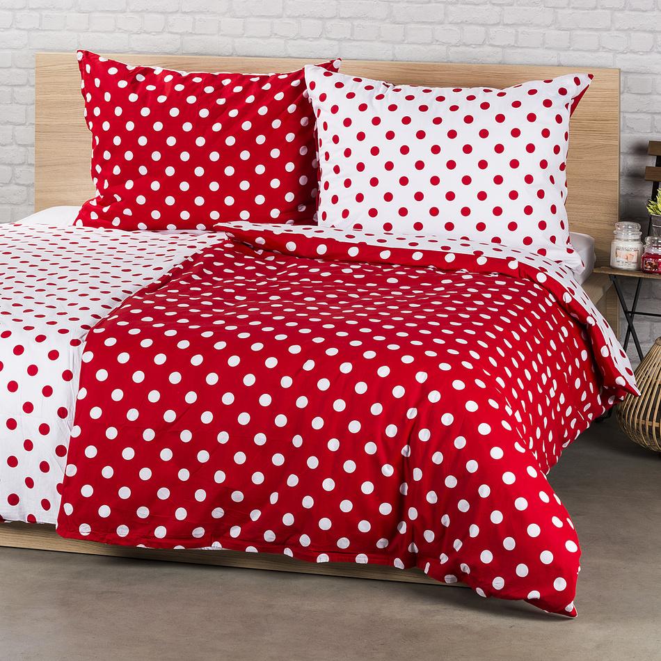 4Home bavlnené obliečky Bodka, červená, 140 x 220 cm, 70 x 90 cm